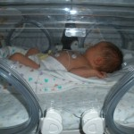 Macon had a slight breathing problem and elevated white blood cells so she had to go to the NICU
