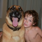 Logan and Big dog! He loved this dog, but his owner picked him up
