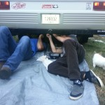 Jack and Jamey working on the camper