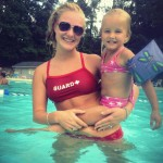 At the pool with her favorite lifeguard