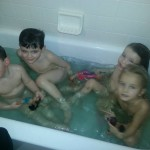 Bath time with friends